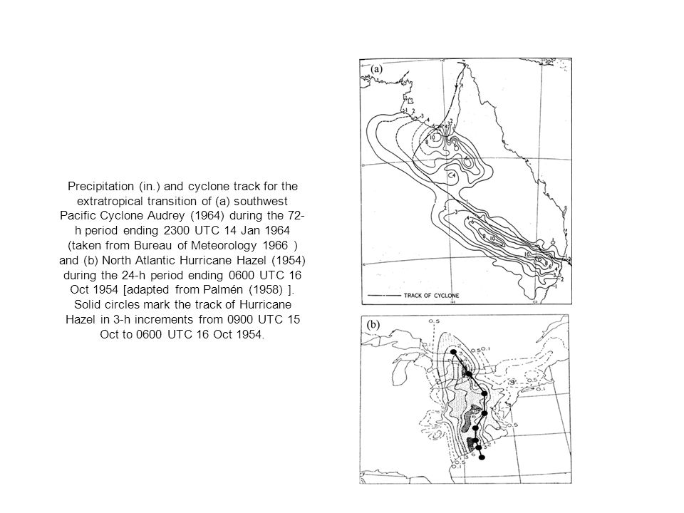 Precipitation (in.) and cyclone track for the extratropical transition of (a) southwest Pacific Cyclone Audrey (1964) during the 72-h period ending 2300 UTC 14 Jan 1964 (taken from Bureau of Meteorology 1966 ) and (b) North Atlantic Hurricane Hazel (1954) during the 24-h period ending 0600 UTC 16 Oct 1954 [adapted from Palmén (1958) ].